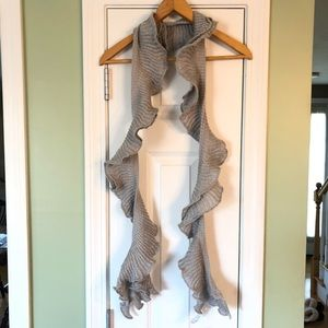 Sparkly Gray Rosette Boa Ruffled Knit Scarf